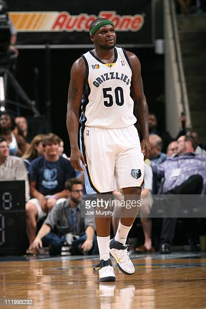 Memphis Grizzlies power forward Zach Randolph looks on during the game against the Sacramento Kings on April 8 2011 at FedExForum in Memphis...