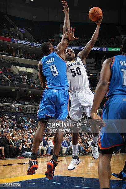 Memphis Grizzlies power forward Zach Randolph protects the ball during the game against the Oklahoma City Thunder on March 7 2011 at FedExForum in...