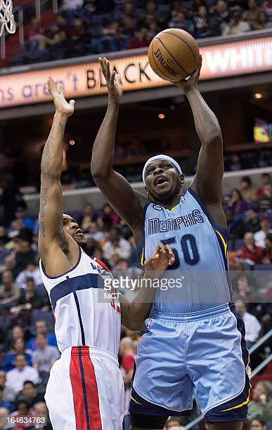 Memphis Grizzlies power forward Zach Randolph shoots over Washington Wizards power forward Trevor Booker during the first half of their game played...