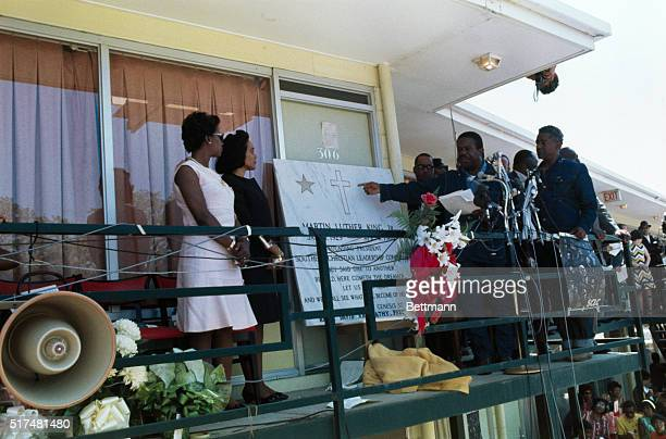 Mrs Martin Luther King Jr and the Rev AD King brother of the slain civil rights leader unveil a commemorative plaque on the balcony of the Lorraine...