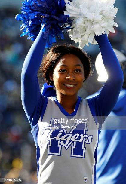 Memphis Tigers cheerleader performs during the game between the Wake Forest Demon Deacons and Memphis Tigers on December 22 2018 at Legion Field in...
