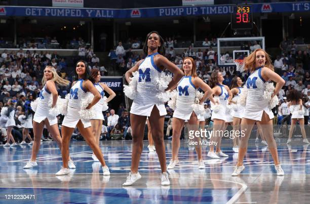 Memphis Tigers cheerleaders perform during a timeout against the Wichita State Shockers during a game on March 5 2020 at FedExForum in Memphis...