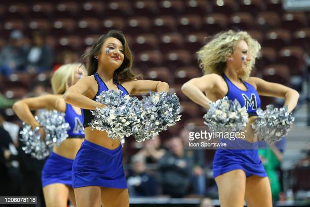 Memphis Tigers cheerleaders perform during the women's American Athletic Conference Tournament game between Memphis Tigers and Cincinnati Bearcats on...