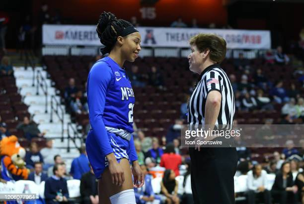 Memphis Tigers forward Keke Hunter speaks with an official during the women's American Athletic Conference Tournament game between Memphis Tigers and...