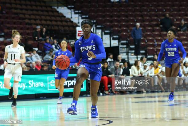 Memphis Tigers guard Gazmyne Herndon drives to the basket during the women's American Athletic Conference Tournament game between Memphis Tigers and...