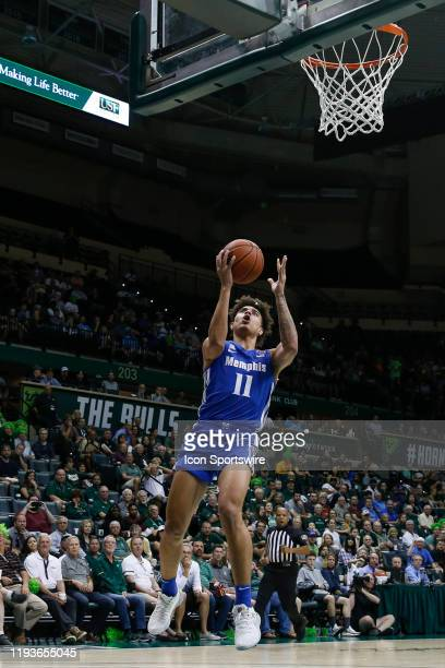 Memphis Tigers guard Lester Quinones goes up to the basket during the college basketball game between the Memphis Tigers and South Florida Bulls on...
