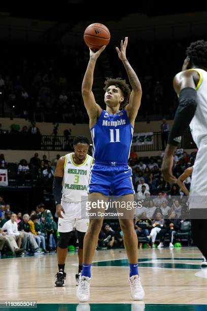 Memphis Tigers guard Lester Quinones takes a free throw during the college basketball game between the Memphis Tigers and South Florida Bulls on...