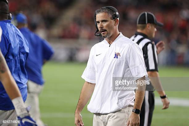 Memphis Tigers head coach Mike Norvell looks on during the game against the Cincinnati Bearcats and the Memphis Tigers on November 18 2016 at Nippert...
