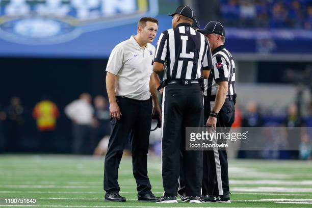 Memphis Tigers head coach Ryan Silverfield argues with the officials during the Cotton Bowl Classic between the Memphis Tigers and Penn State Nittany...
