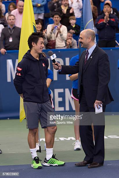 Memphis, TN - February 15 2015: Kei Nishikori defeats Kevin Anderson 64 64 at the 2015 Memphis Open in Memphis, Tennessee. Photographer Andrew Patron