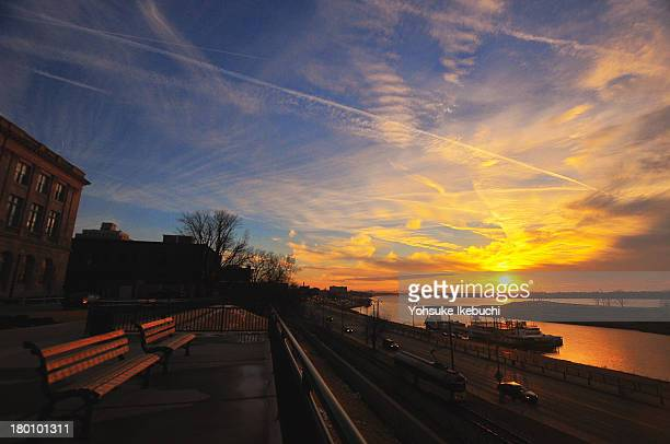 Memphis, TN, Sunset, Clouds, River, Mississippi River, Chairs