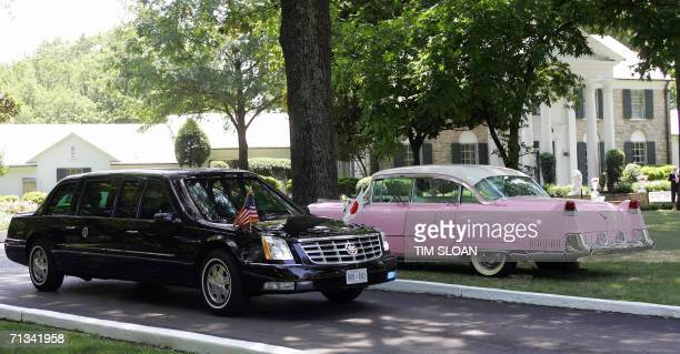 The Presidential Cadillac carrying US President George W Bush and Prime Minister Junichiro Koizumi of Japan passes the Kings pink Cadillac after the...