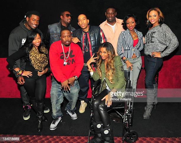 Memphitz, Antonia Wright, Devyne Stephens, Big Boi, Ludacris, Ciara, Guest, Diamond and Demetria Mckinney attend the 2011 Roll Over Hunger Charity...