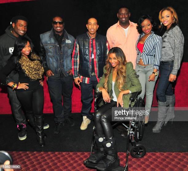 Memphitz, Antonia Wright, Devyne Stephens, Ludacris, Ciara, Guest, Diamond and Demetria Mckinney attend the 2011 Roll Over Hunger Charity and Skate...