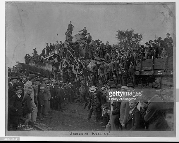 Men and boys swarm over the wreckage of a train in Lancaster Ohio 1896 | Location Buckeye park Lancaster Ohio USA