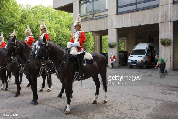 Men and horses of the Queen's Life Guard on inspection at the Knightsbridge barracks before taking over at Horse Guards Parade at 11am Hyde Park...