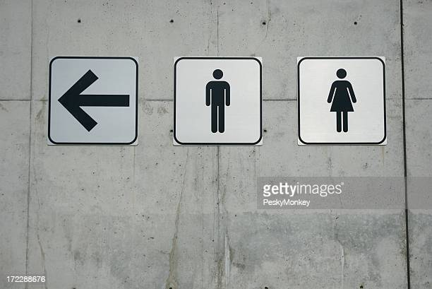 Men and Ladies Signs on Smooth Concrete Wall