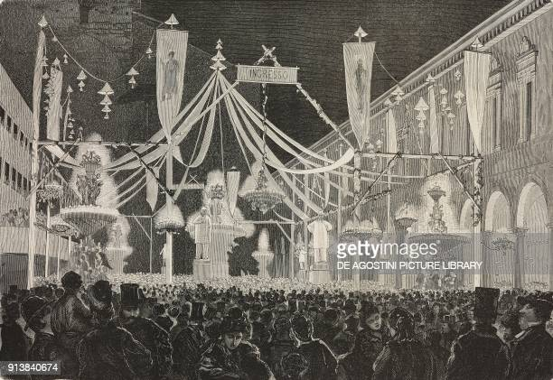 Men and women at the night ball in Luigi Galvani Square during the 1875 Carnival in Bologna Italy illustration after a drawing by Luigi Serra from...