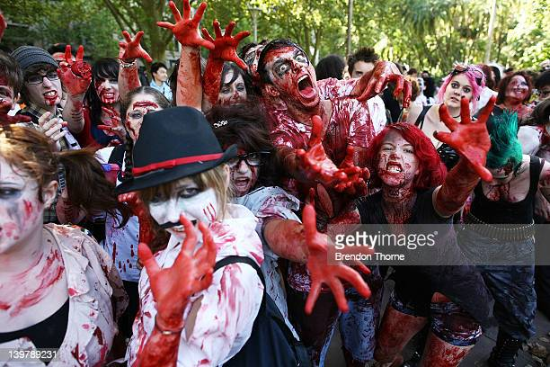 Men and Women dressed as zombies walk through Hyde Park on February 25 2012 in Sydney Australia The annual Zombie Walk raises money for the Brain...