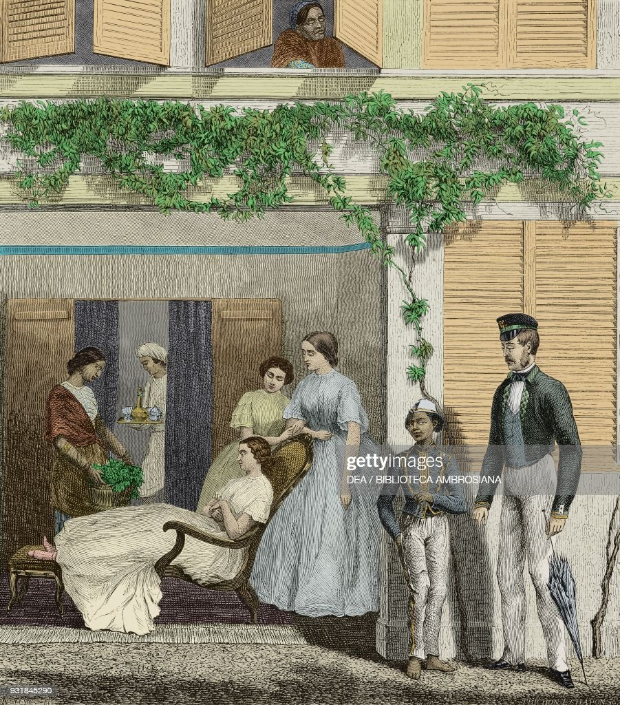 men and women in a house in mauritius drawing by potemont from