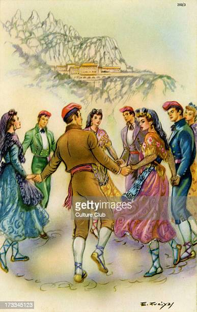 Men and Women in a traditional Spanish dance set in a landscape among northern hills After a painting by E Freiyaj