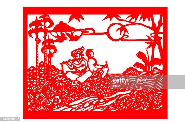Men and women in flowers of romance Paper-cut