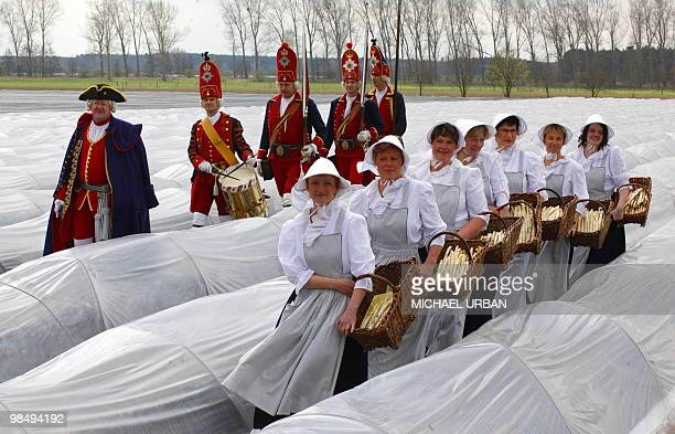 Men and women in historic costumes pose on an asparagus field in Zauchwitz near Beelitz eastern Germany to open the asparagus harvest season on April...