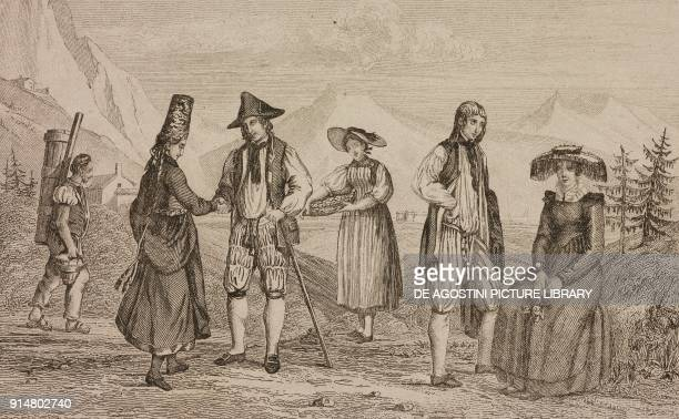 Men and women in the costumes of cantons of Freiburg Schaffhausen and Zurich Switzerland engraving by Rouargue from Histoire et description de la...