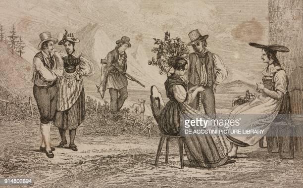 Men and women in the costumes of cantons of Schwyz Zug and Lucerne Switzerland engraving by Rouargue from Histoire et description de la Suisse et du...