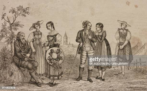 Men and women in the costumes of cantons of Solothurn Freiburg and Lucerne Switzerland engraving by Rouargue from Histoire et description de la...