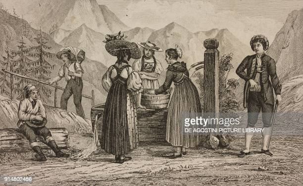 Men and women in the costumes of the cantons of Schwyz and Untervaldo Switzerland engraving by Rouargue from Histoire et description de la Suisse et...