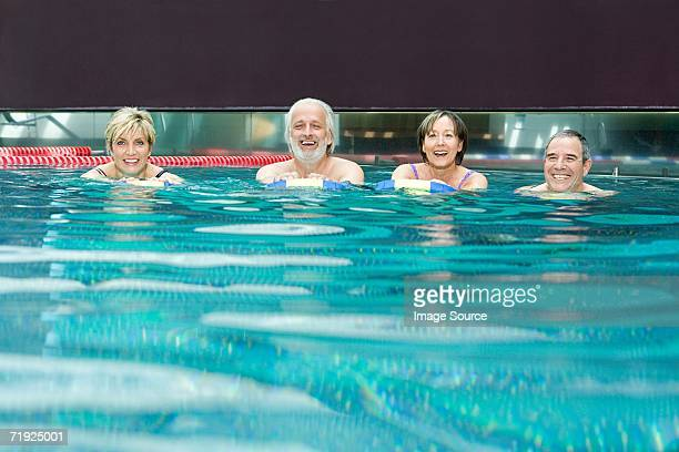 Men and women in the pool