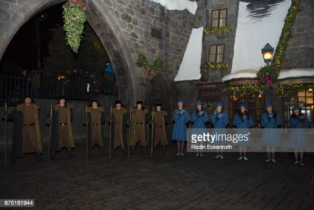 Men and women Quidditch teams at Christmas in the Wizarding World of Harry Potter at Universal Studios Hollywood on November 16 2017 in Universal...