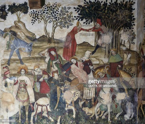 Men and women revitalized after bathing in the fountain detail from the Fountain of Youth fresco in the Baronial Hall Castle of Manta Saluzzo...