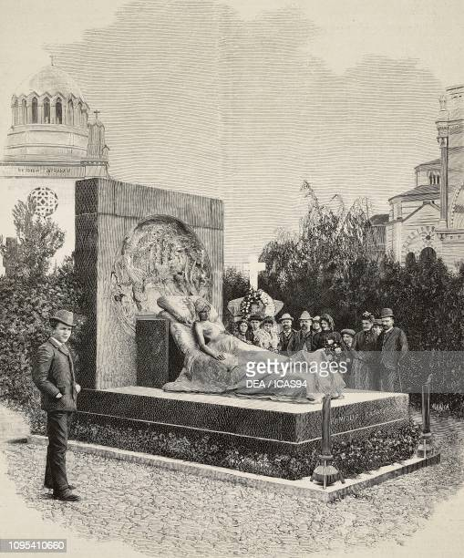Men and women visiting the grave of Isabella Casati Brioschi by the sculptor Enrico Butti Cimitero Monumentale Milan Italy engraving from...