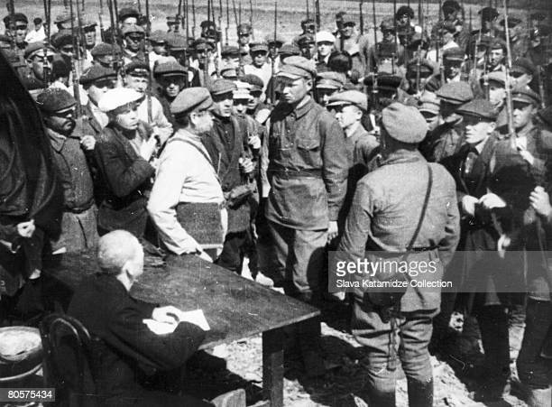 Men are drafted into the Bolsheviks' Red Army during the Russian Civil War 1918