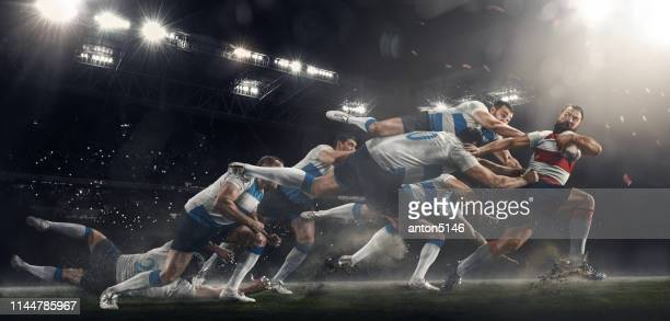 men are playing rugby at stadium - stereoscopic images stock photos and pictures