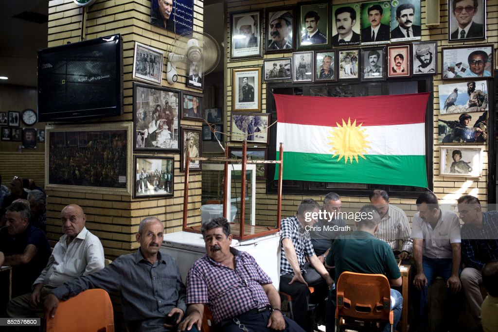 Men are seen in a historic tea house ahead of the upcoming referendum for independence of Kurdistan on September 23, 2017 in Sulaymaniyah, Iraq. The Kurdish Regional government is preparing to hold the September 25, independence referendum despite strong objection from neighboring countries and the Iraqi government, which voted Tuesday to reject Kurdistan's referendum and authorized the Prime Minister Haider al-Abadi to take measures against the vote. Despite the mounting pressures Kurdistan President Masoud Barzani continues to campaign and state his determination to go ahead with the vote.