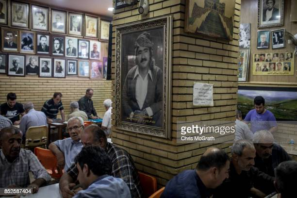 Men are seen in an old historic tea house ahead of the upcoming referendum for independence of Kurdistan on September 23 2017 in Sulaymaniyah Iraq...