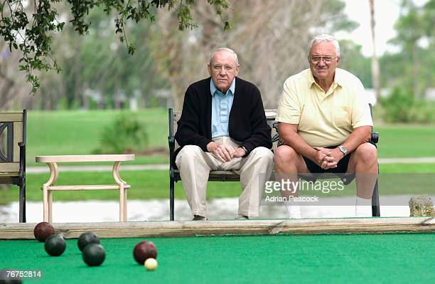 Men at a bocce ball game