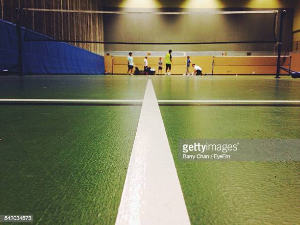 men at badminton court - badminton stock photos and pictures