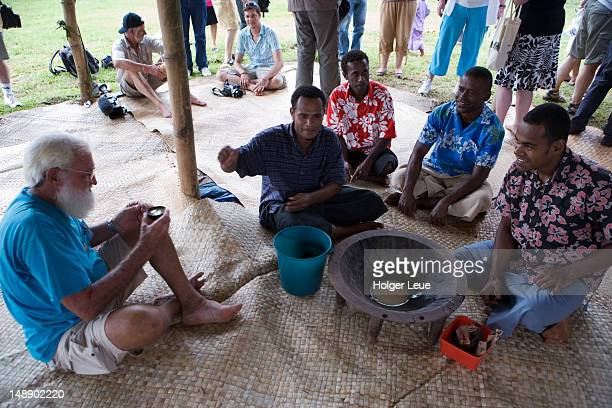 Men at kava ceremony.