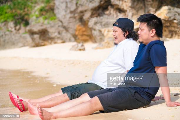Men at Okinawa beach