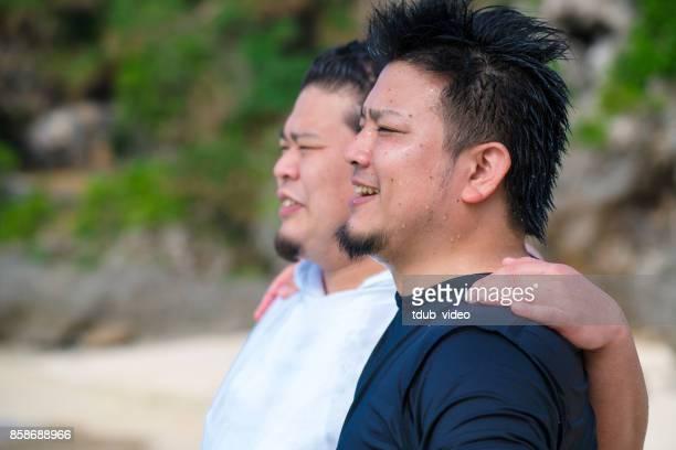 Men at Okinawa beach