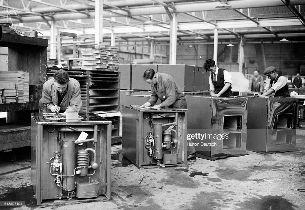 Men At The Electrolux Factory In Luton Place Cooling Units In