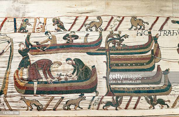 Men at work on ships detail of Queen Mathilda's Tapestry or Bayeux Tapestry depicting Norman conquest of England in 1066 France 11th century