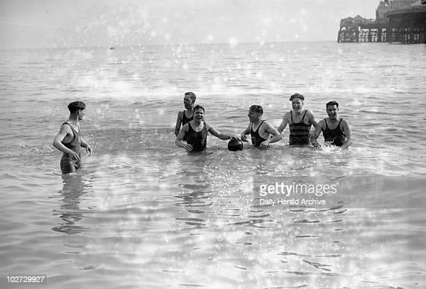 Men bathing at Brighton Sussex 11 April 1931 Photograph by Harold Tomlin Men bathing at Brighton Sussex 11 April 1931 Photograph by Harold Tomlin