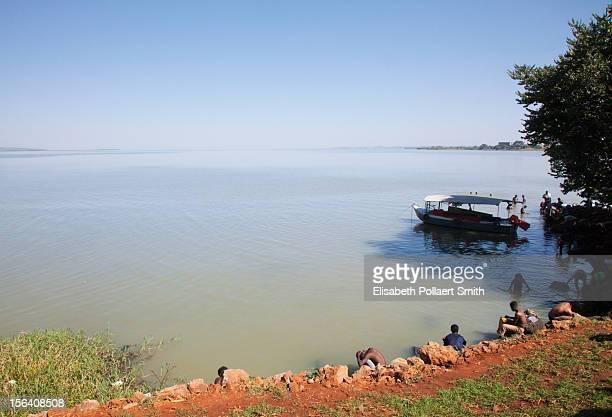 Men bathing on the shore of Lake Tana, Ethiopia