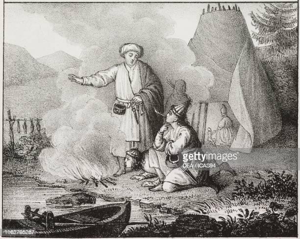 Men before a fire Lapland lithograph from Galleria universale di tutti i popoli del mondo ossia storia dei costumi religioni riti governi d'ogni...