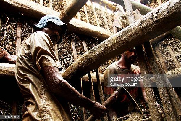 Men begin building a new mine and the first walls are essential on November 19 2010 in Ratnapura Sri Lanka